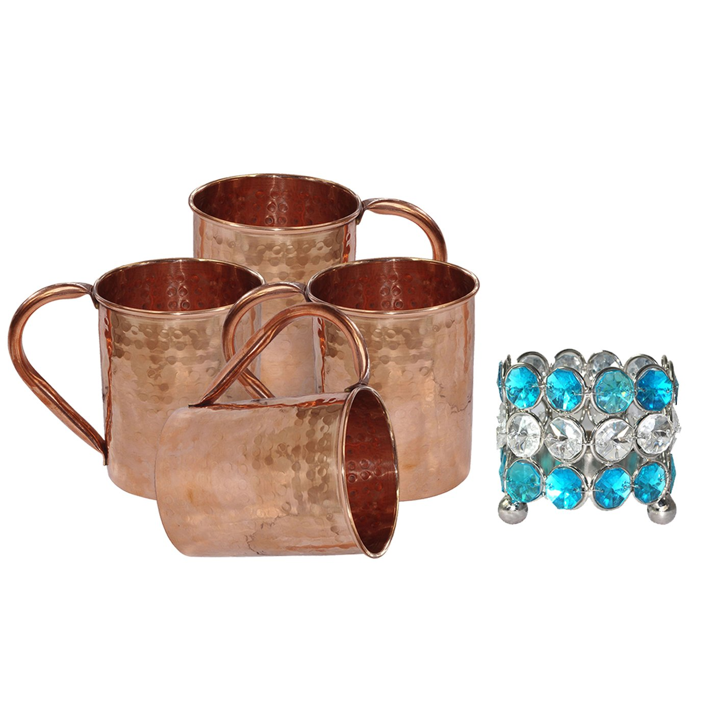 DakshCraft ® Perfect Gift for Christmas - Copper Moscow Mule Mug,Set of 4 (Capacity - 16.90 oz) & One Candle Stand
