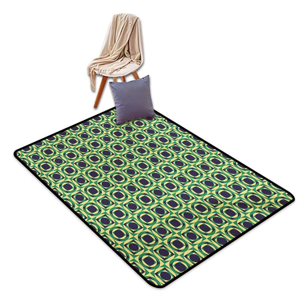"""Abstract Bathroom Suction Door mat Checkered Pattern with Circles Inside Squares Nineties Style Water Absorption, Anti-Skid and Oil Proof 32"""" Wx48 L Dark Purple Yellow and Green"""