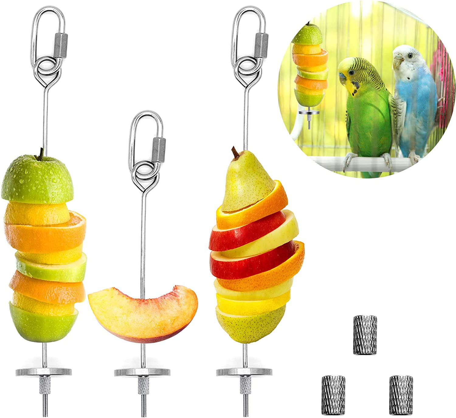 3Pcs Bird Food Holder, Bird Feeder Toy, Stainless Steel Small Animal Fruit Vegetable Stick Skewer, Foraging Hanging Food Feeding Treating Tool for Parrots Cockatoo Cockatiel Cage