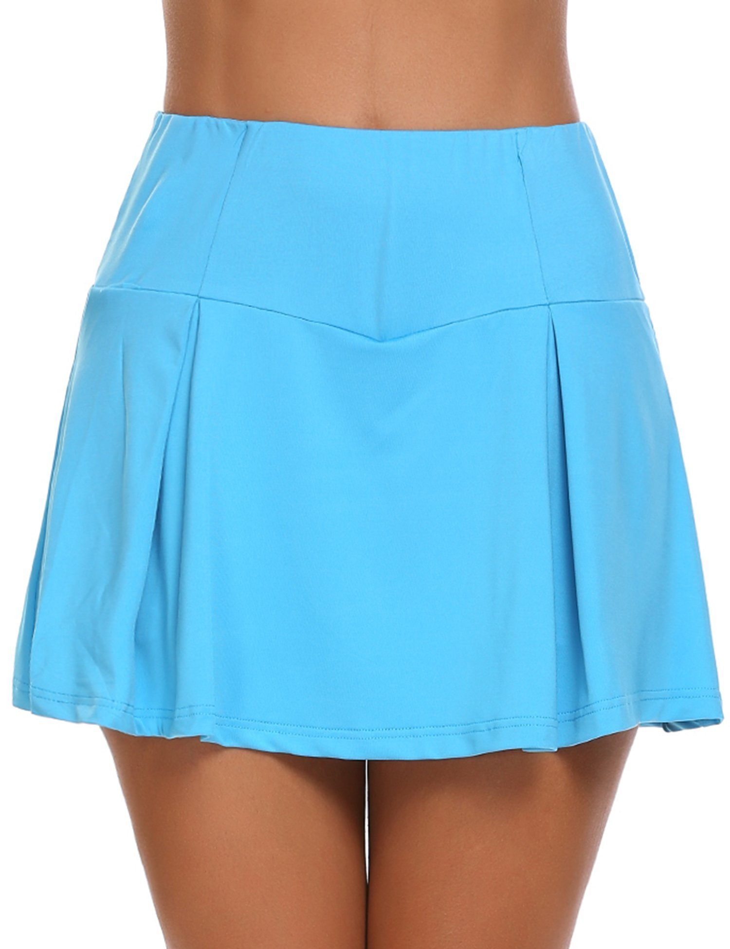 Womens Basic Casual Sports Skorts Gym Tennis Skirt with Shorts, Blue, Small