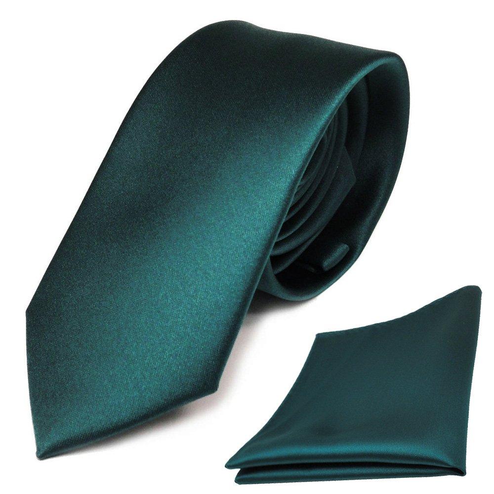 schmale TigerTie Schlips Krawatte + TigerTie Einstecktuch grün petrol uni Binder Polyester