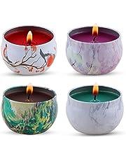KitchenGynti Regalo de velas aromaticas - lavanda, rosa, árbol de té y hierbabuena, la cera de la soja del 100% aliviar el estrés y aromaterapia, candela del regalo de Navidad - Paquete de 4