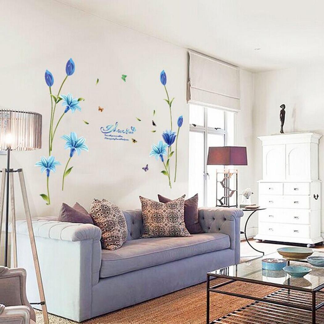Camera Da Letto Sfondo Tv Decorazione Per Casa Chshe Soggiorno Adesivo Da Parete Con Gigli Blu Decorazioni Per Interni Adesivi E Murali Da Parete