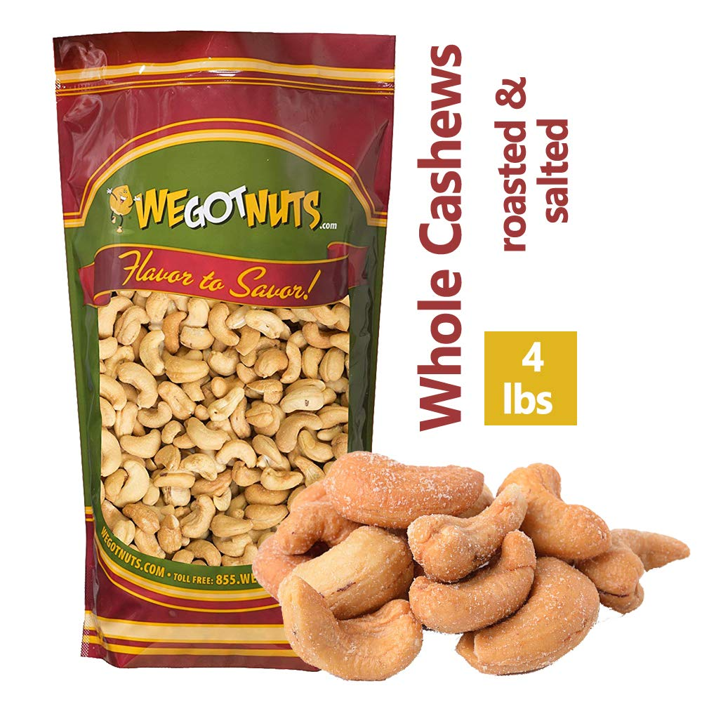 We Got Nuts Roasted Salted Cashews 4 Lb Bulk Bag by We Got Nuts