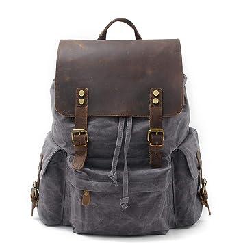 4d85416158b6 Geremen Vintage Canvas Leather Laptop Backpack for Men School Bag 15.6