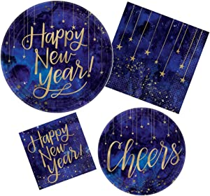 Midnight New Years Eve Party Supply Kit! Bundle Includes Paper Plates and Napkins for 8 Guests
