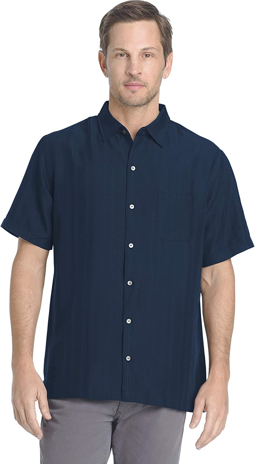 Van Heusen Mens Air Short Sleeve Button Down Poly Rayon Stripe Shirt Button Down Shirt