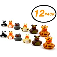 "Srenta 2"" Zoo Animal Rubber Ducks, Rubber Ducky Birthday Party Favors, Gift, Children Bath Toy, Pack of 12"
