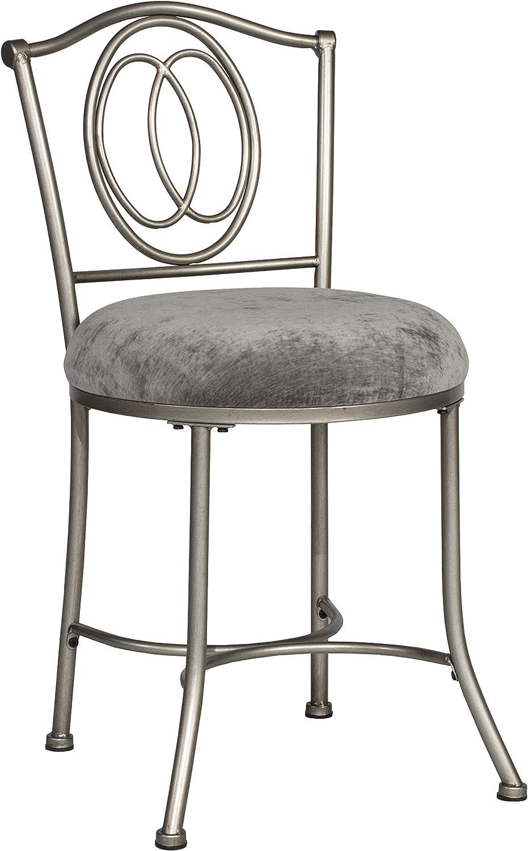 Hillsdale Furniture Emerson Vanity Stool, Silver