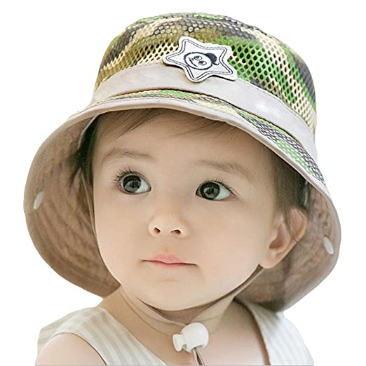 2767f86168 Roffatide Baby Toddler Infant Mesh Camo Boonie Fishing Bucket Sun Hat  Summer Cap with Chin Strap