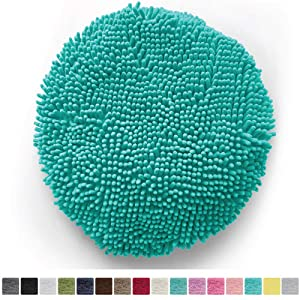 Gorilla Grip Original Shag Chenille Bath Rug Toilet Lid Cover, 19.5 Inchx18.5 Inch Large Size, Machine Washable, Ultra Soft Plush Fabric Covers, Fits Most Size Toilet Lids for Bathroom, Turquoise
