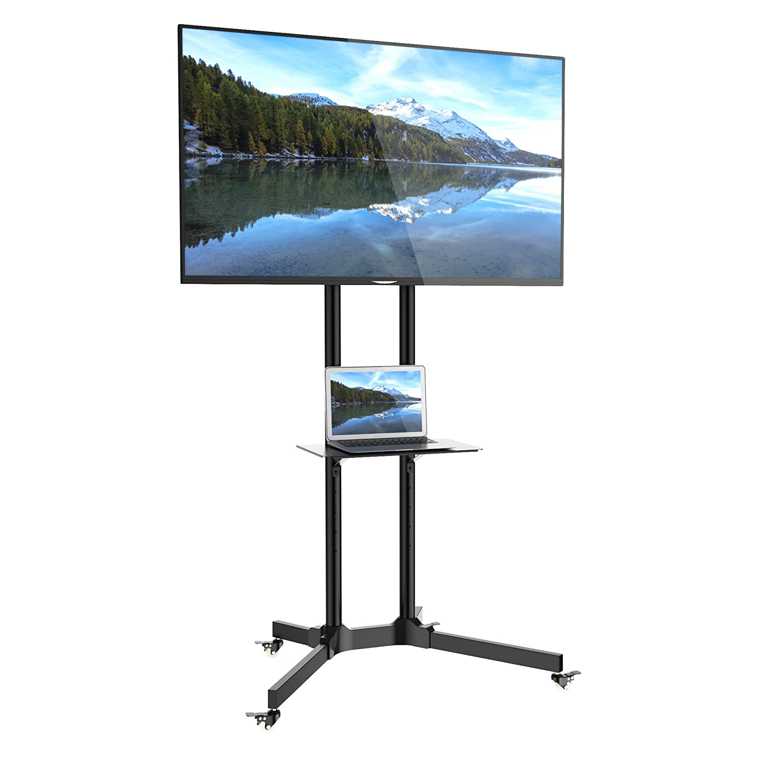 e51bd93bad94 1home Mobile TV Trolley Stand Mount Cart Exhibition: Amazon.co.uk:  Electronics