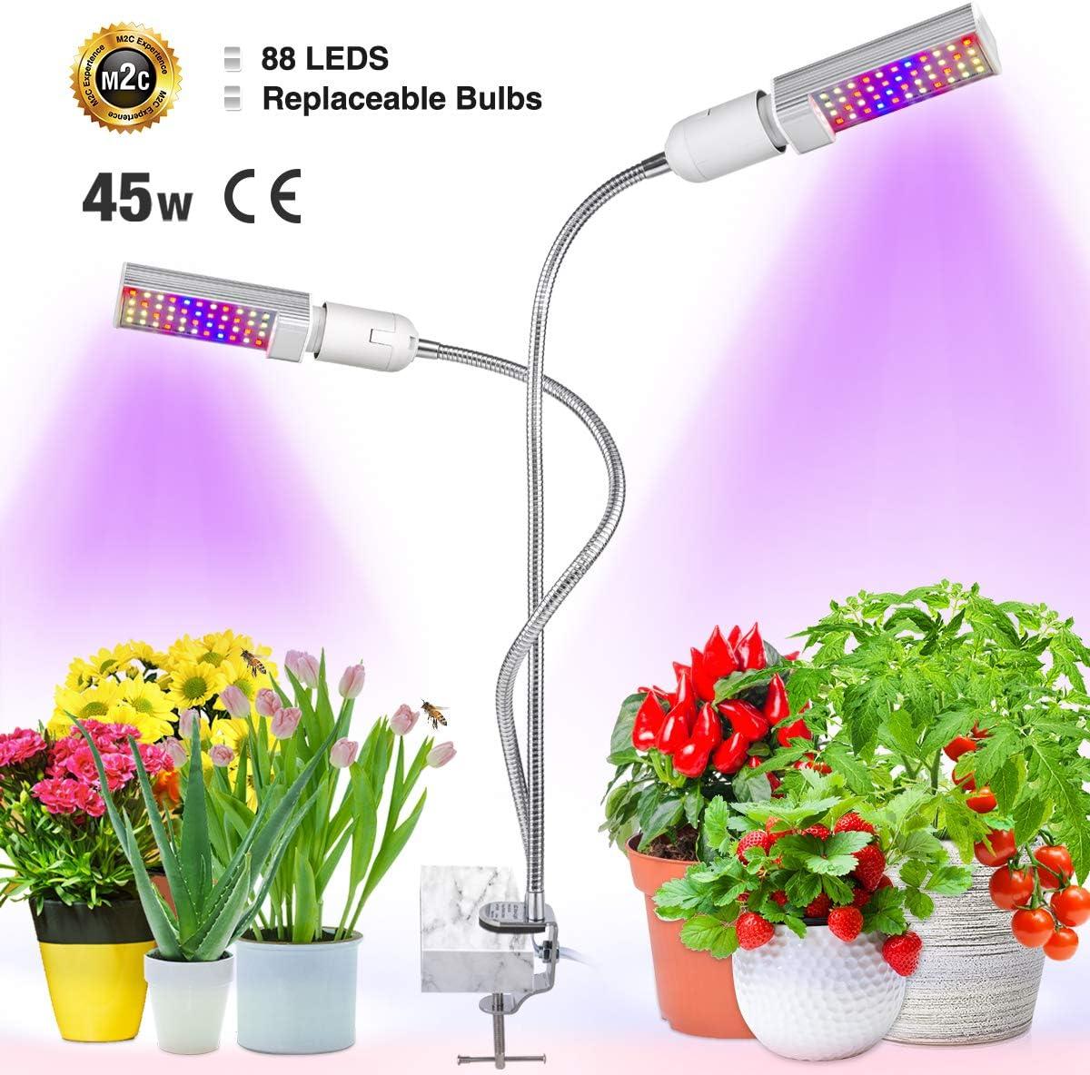 Bozily Lámpara de Plantas 45w, Lámpara de Cultivo LED de, Cabezal Dual de Espectro Completo, 88 LEDs, Auto On/Off, para Siembra en Crecimiento, Germinación y Floración