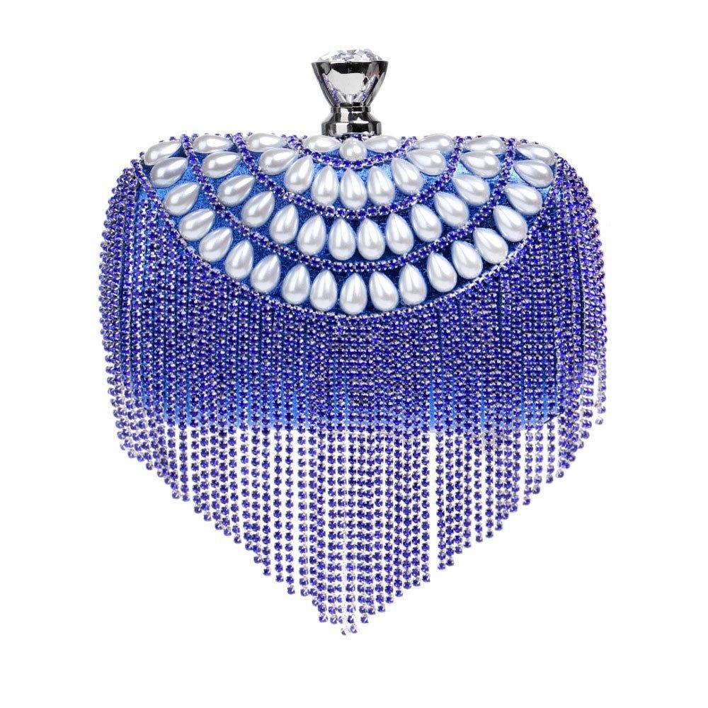 bluee Soft Ladies Sparkly Diamond Crystal Tassel Evening Clutch Bag Wedding Handbag Purse Bag Handbag (color   gold, Size   16  4.5  9.5cm)