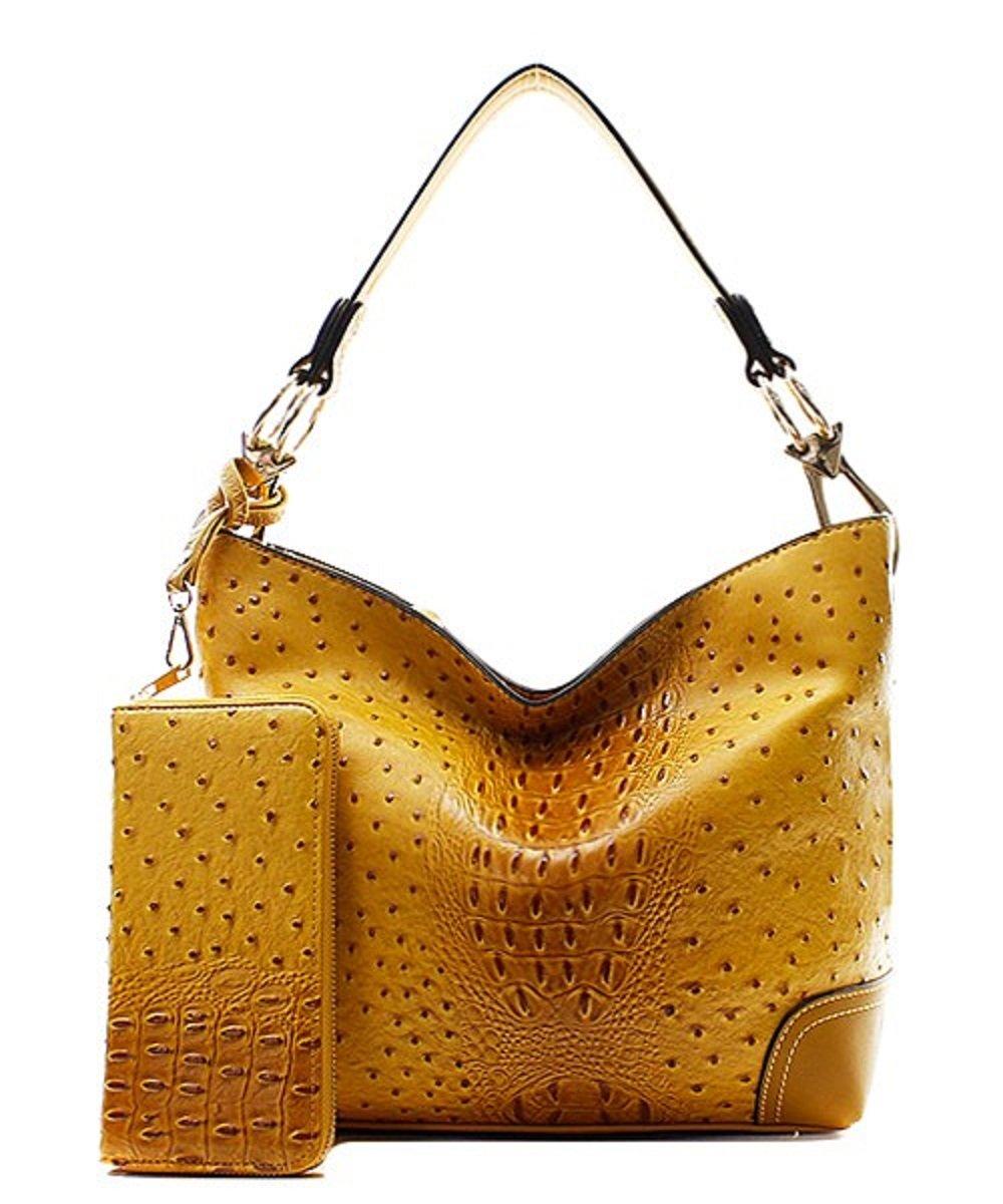 Handbag Inc Ostrich Vegan Leather Shoulder Hobo Handbag and Wallet (Black) by Handbag Inc (Image #2)