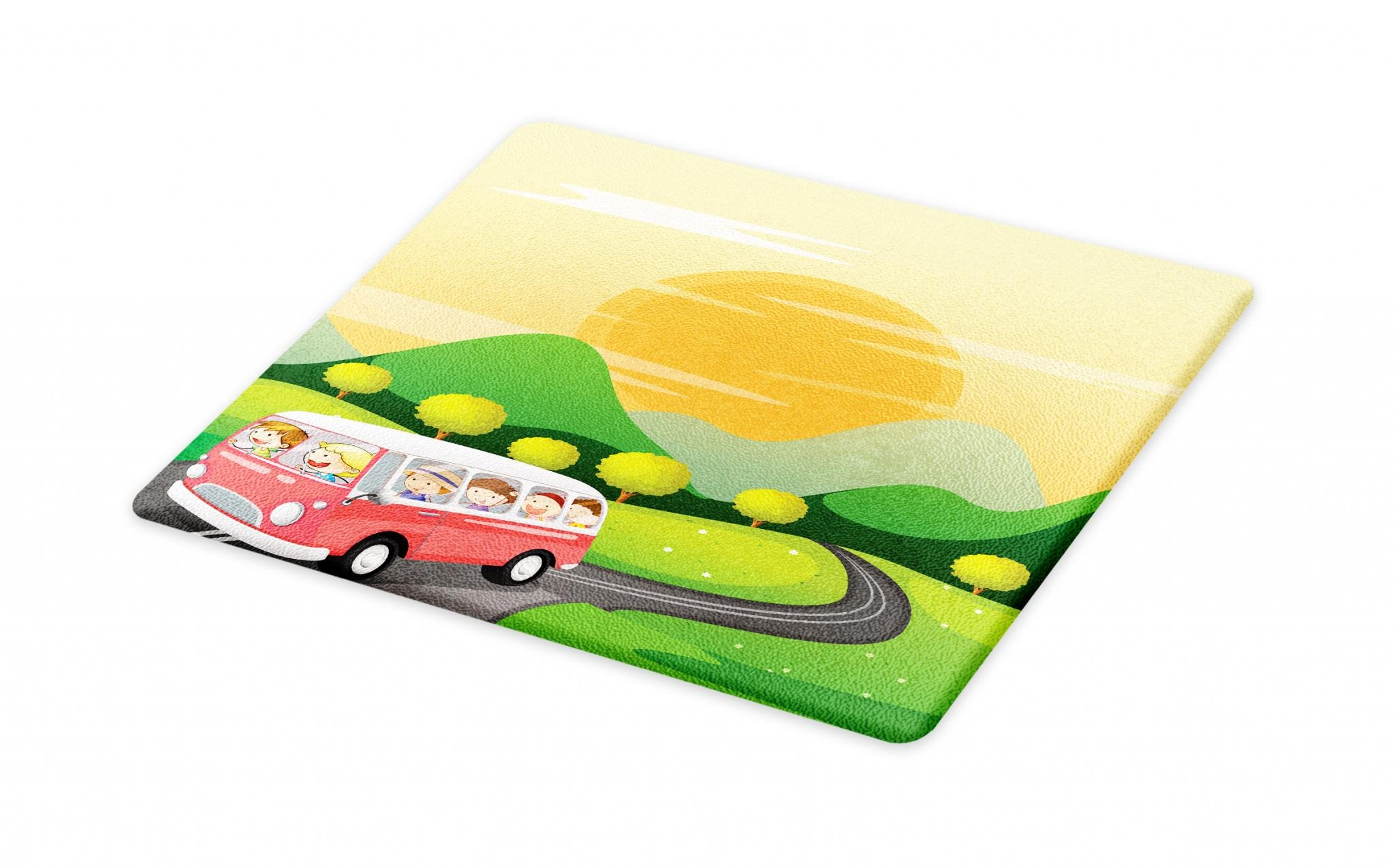 Lunarable Road Trip Cutting Board, School Kids on Their Way to Outdoors Adventure in a Bus Theme Forest Nature Print, Decorative Tempered Glass Cutting and Serving Board, Large Size, Multicolor
