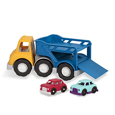 Wonder Wheels by Battat – Car Carrier Truck – Toy Truck with 2 Toy Cars for Toddlers Aged 1 & Up (3Pc) – 100% Recyclable, Multi: Toys & Games