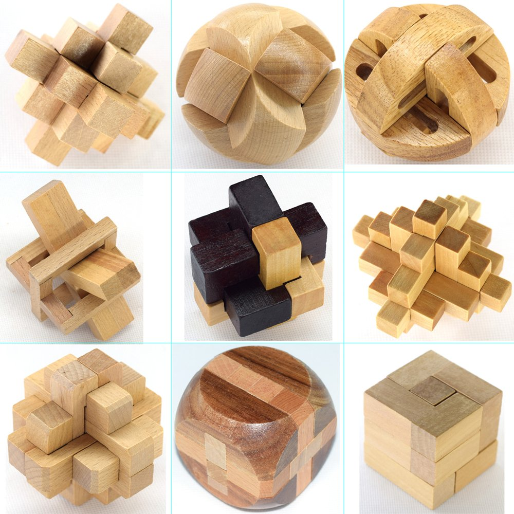 VolksRose 3D Wooden Cube Brain Teaser Puzzle 9 pcs IQ Puzzles Great Educational Intelligence Jigsaw Puzzles Toys for Adult Children and Student Challenge Your Logical Thinking