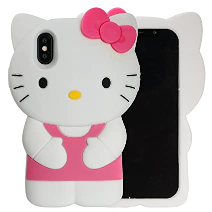 Case for iPhone X XS, Phenix-Color 3D Cute Cartoon Soft Silicone Hello Kitty Gel Back Cover Case for iPhone X XS Case Amp Prime(No.89)