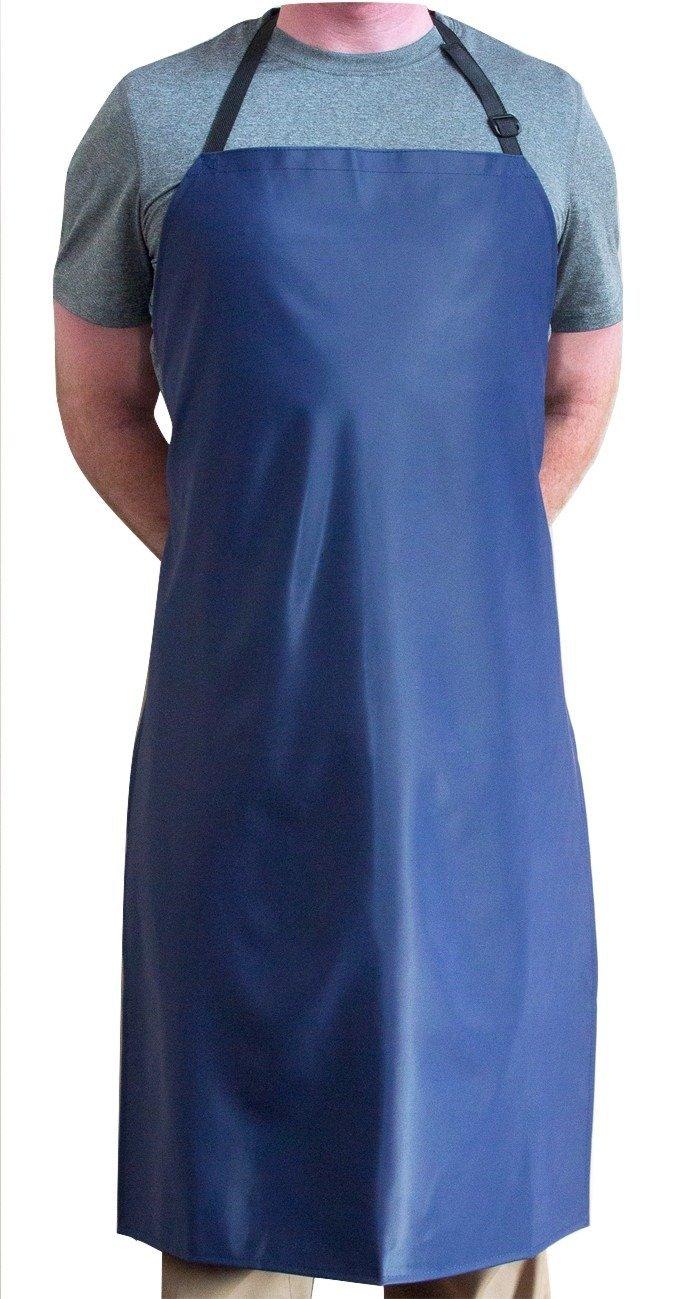 Tuff Apron trade; Blue Heavy Duty Waterproof with Neck Adjuster Durable Long Kitchen Dishwashing Bib 41'' x 27'' PVC Vinyl