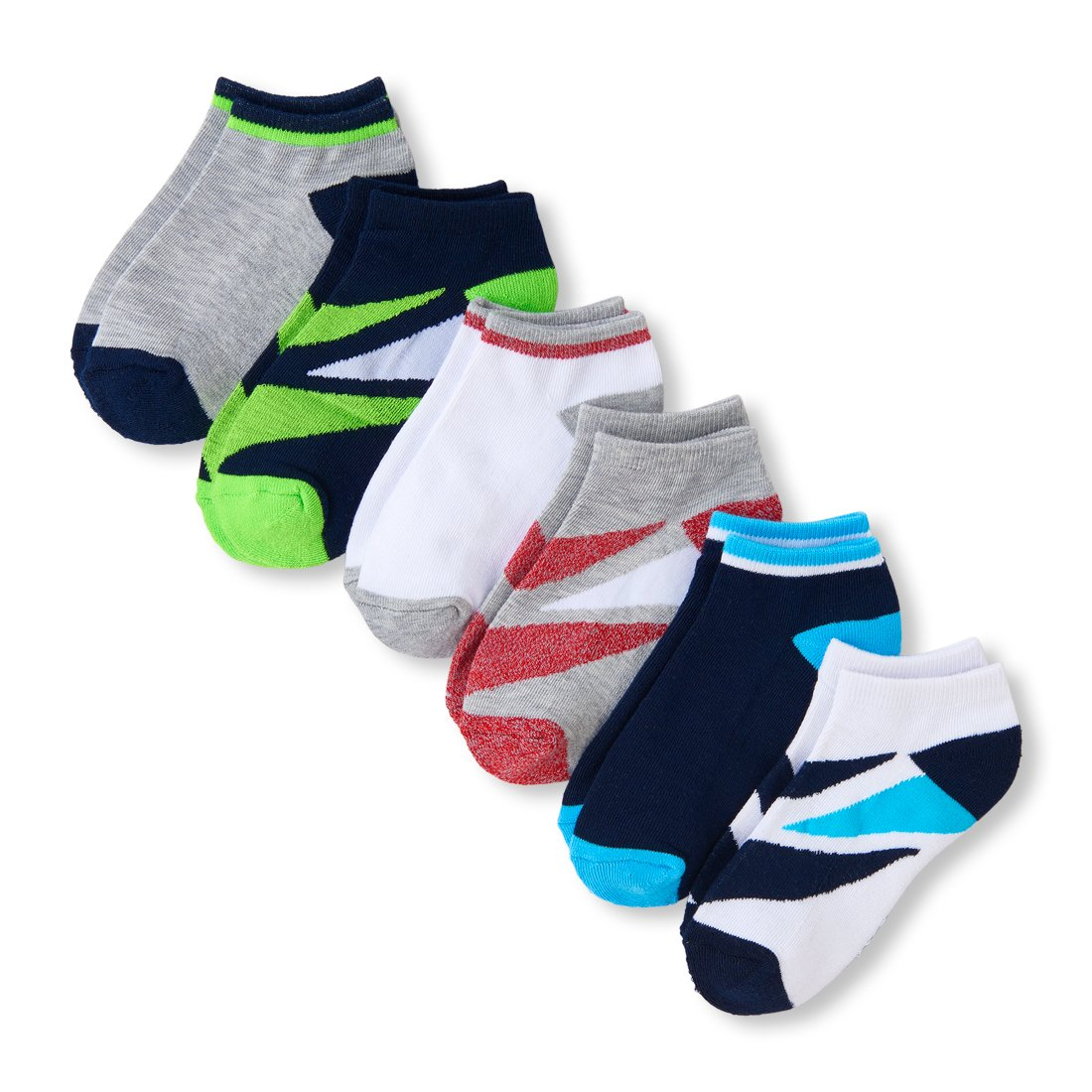 The Children's Place Boys' Big 6 Pack Sport Ankle Sock, Multi CLR, S 11-13