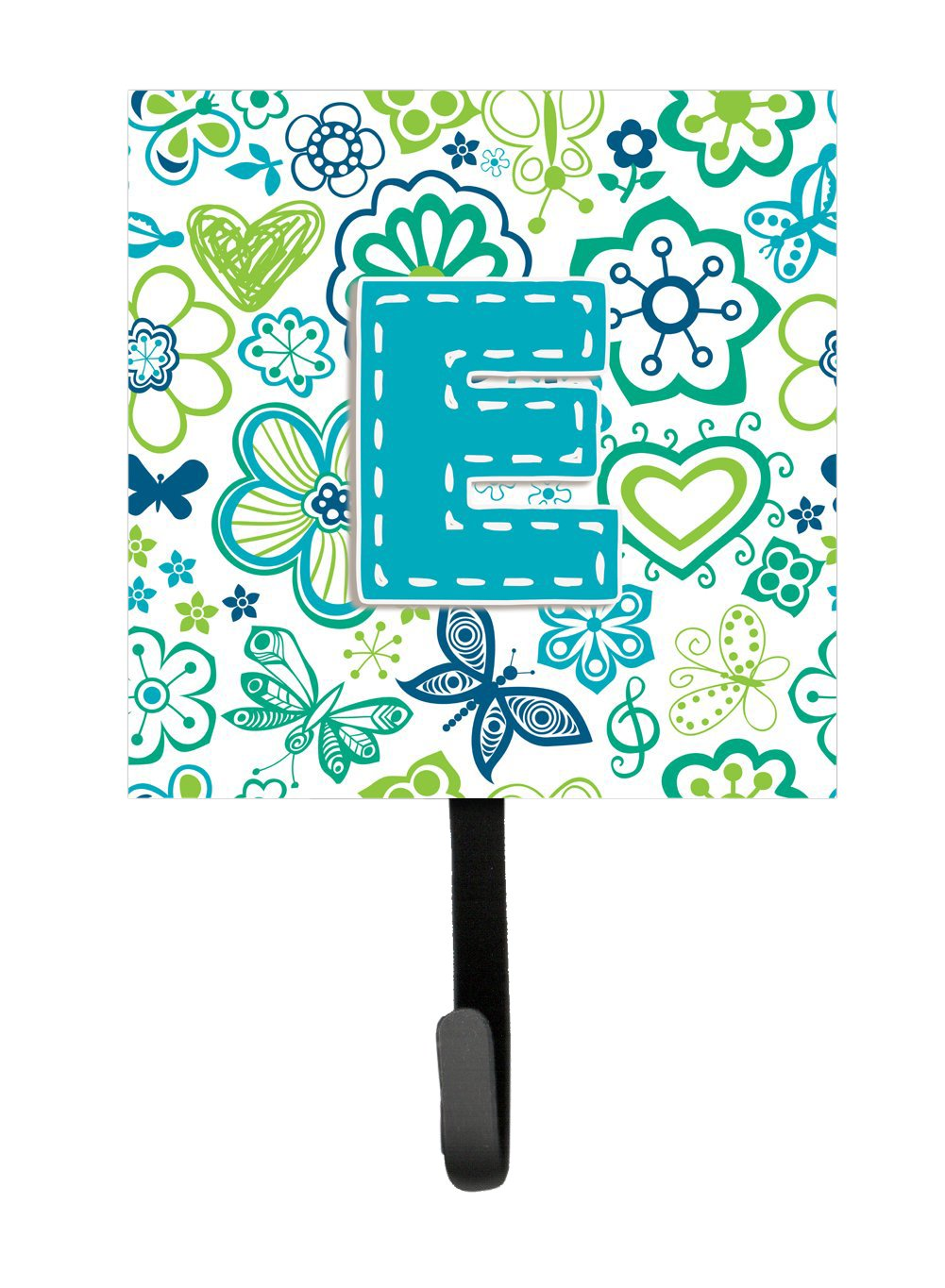 Multicolor Small Carolines Treasures CJ2006-ESH4 Letter E Flowers and Butterflies Teal Blue Leash or Key Holder