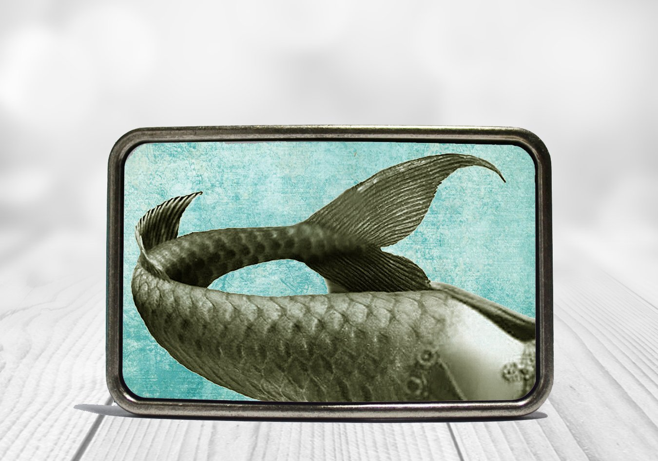Blue Mermaid Tail Belt Buckle