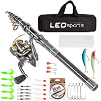 Leo Telescopic Fishing Rod and Reel Combos with Full Kits and Carrier Bag Carbon Fiber Fishing Pole for Travel Saltwater…