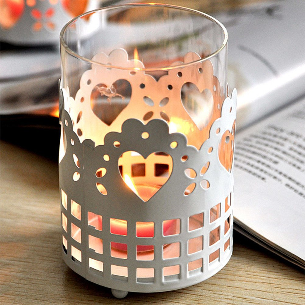 Glass Candle holder,Romantic Candlestick holders christmas Creative White Iron-A