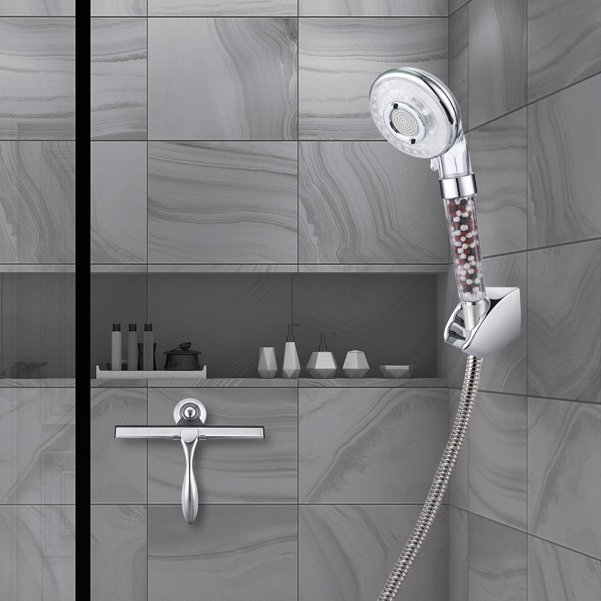3 mode doccia Ammorbidisce lacqua dura,Vieni con un pacchetto di sfere extra minerali per la sostituzione! Baban Soffione Doccia ad alta pressione,40/% di risparmio idrico
