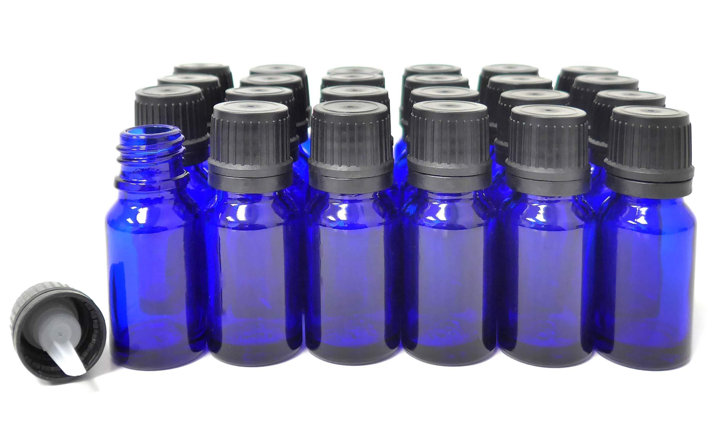 ljdeals 10ml Cobalt Blue Essential Oil Bottle with Euro Dropper Black Cap Glass Bottles Pack of 24