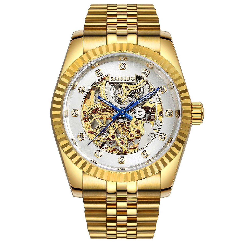 Topwatch® Sangdo elegante Herren-Armbanduhr - weißes Skelett-Zifferblatt - 18 Karat Gold - Edelstahl-Band - automatische