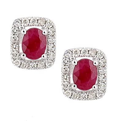 Naava Women's 9ct White Gold Sapphire and Diamond Oval Gemstone Stud Earrings 2Pl9iErcLh