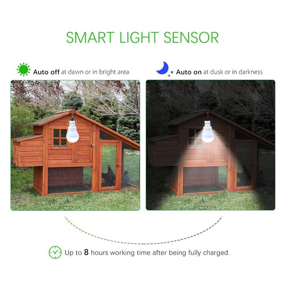 Light Sensor Solar Bulb for Outdoor, PRODELI Portable LED Light Dusk to Dawn Solar Lamp Auto On/Off for Indoor Outdoor Camping Tent Fishing Hiking Chicken Coop Garden Shed Farm Lighting [150LM 1600mA]