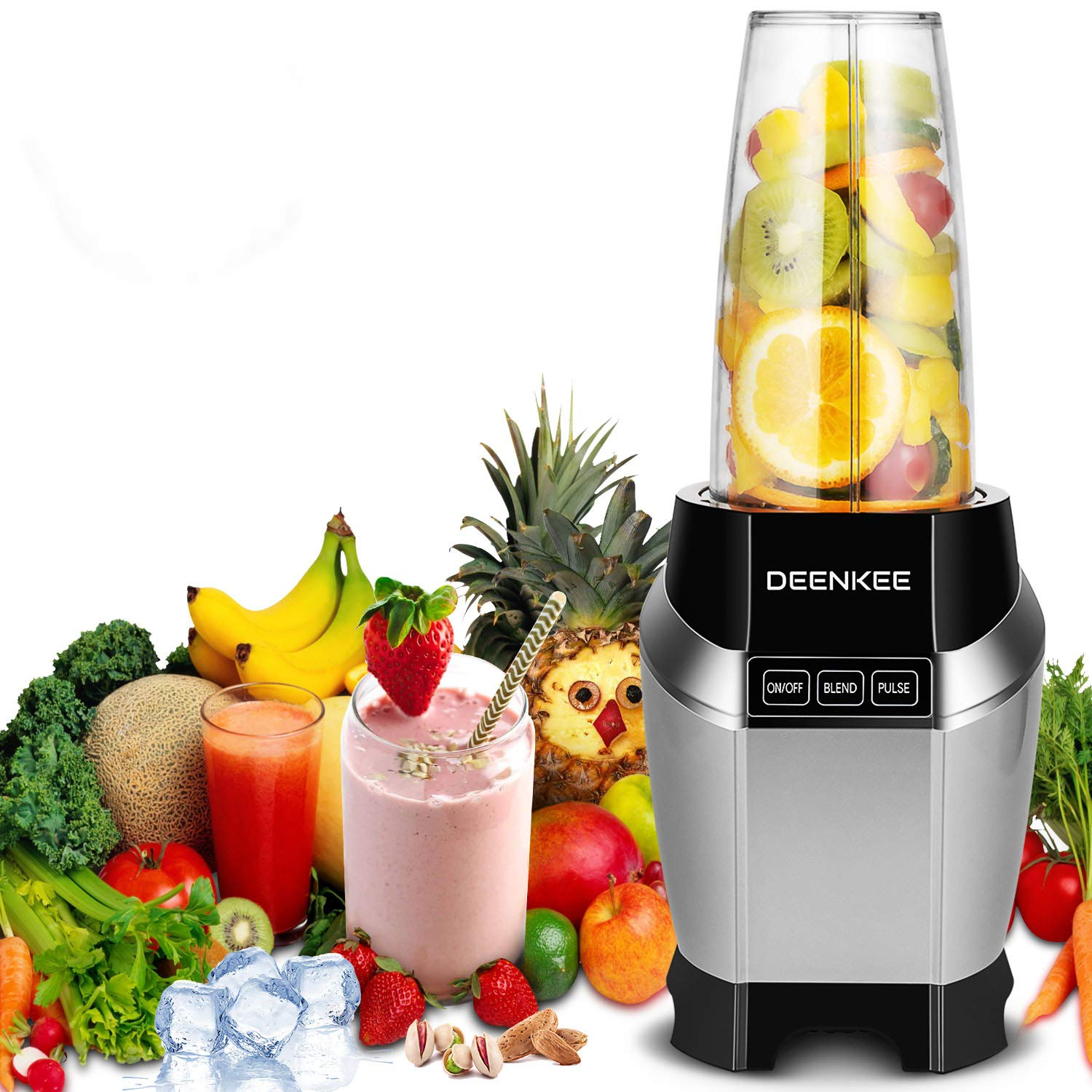 Blender, Smoothie Blender, Personal Blender, Blender For Shakes And Smoothies, Stainless Steel Juicer Blender Electric, Professional-Grade Power,High-Speed Blender For Baby Food With 1000W, BPA Free,FDA, Recipes Including