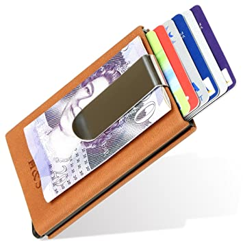 73fda33de98a H&S Credit Card Holder Money Clip RFID Blocking Bank Card Case Wallet  Protector PU Leather for