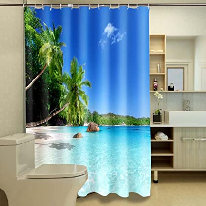 Jibin Bong 72 X Inch Ocean Decor Shower Curtain Tropical Palm Trees On A