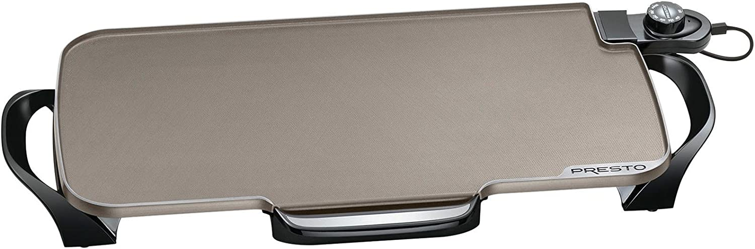 Presto Ceramic 22-inch Electric Griddle with removable handles, One Size, Black