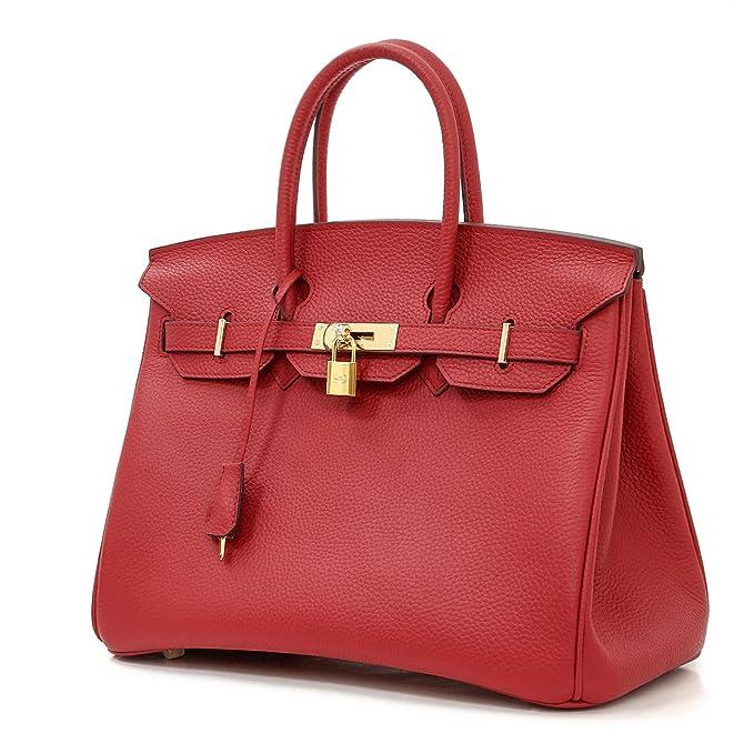 325bd1f83cd1 Macton European and American Classic Padlock Genuine Leather Top Handle  Handbags Mc-1329 (30CM