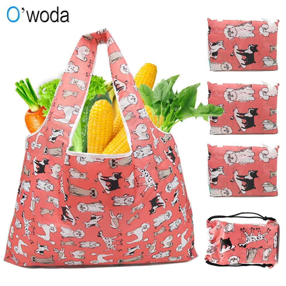 Floral Owoda 4pcs Bolsa Compra Plegable Reutilizables,Lavable y Transpirable,Bolsas de Supermercado Ecol/ógicas Adecuada para Fruta,Verduras y Juguete