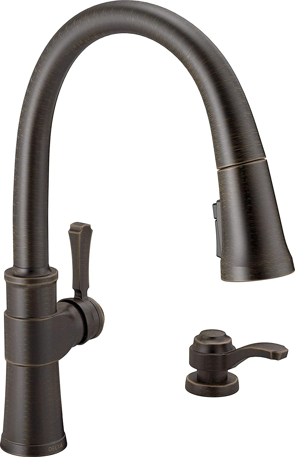 Delta Faucet Spargo Single-Handle Kitchen Sink Faucet with Pull Down Sprayer, ShieldSpray Technology and Magnetic Docking Spray Head, Venetian Bronze 19964Z-RBSD-DST