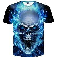 Covermason Hommes Skull 3D Pattern imprimé T-Shirts Chemise à Manches Courtes à Manches Courtes T-Shirts Blouse Tops Grande Taille S-5XL