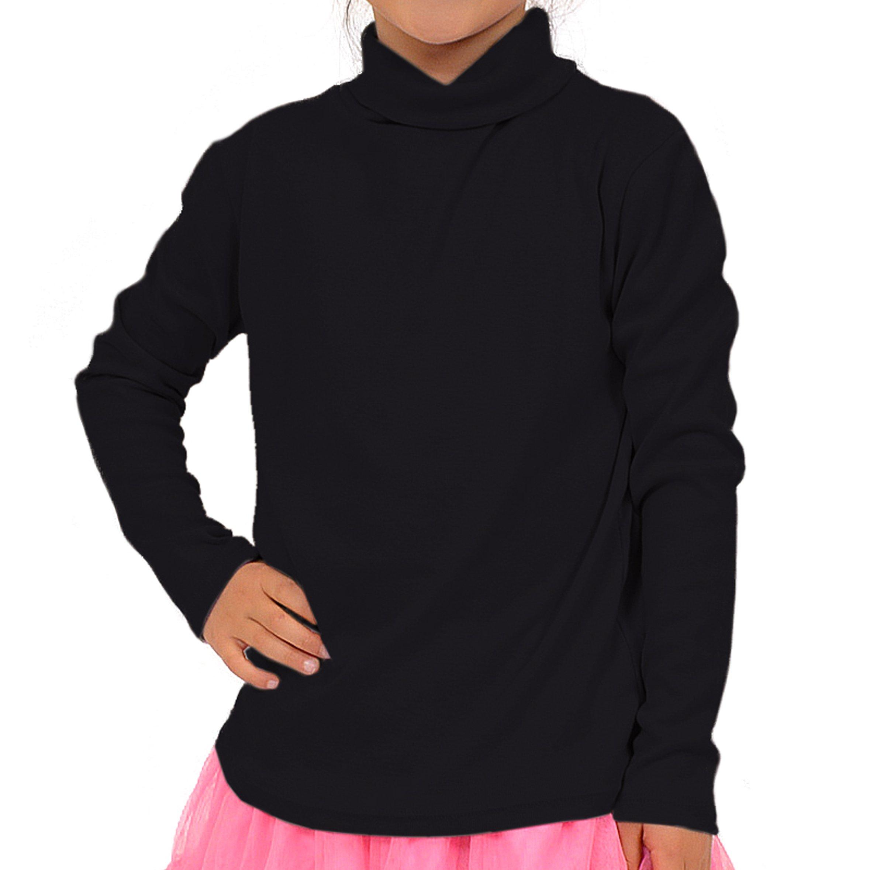 Stretch is Comfort Girl's Long Sleeve Cotton Turtleneck Black X-Large