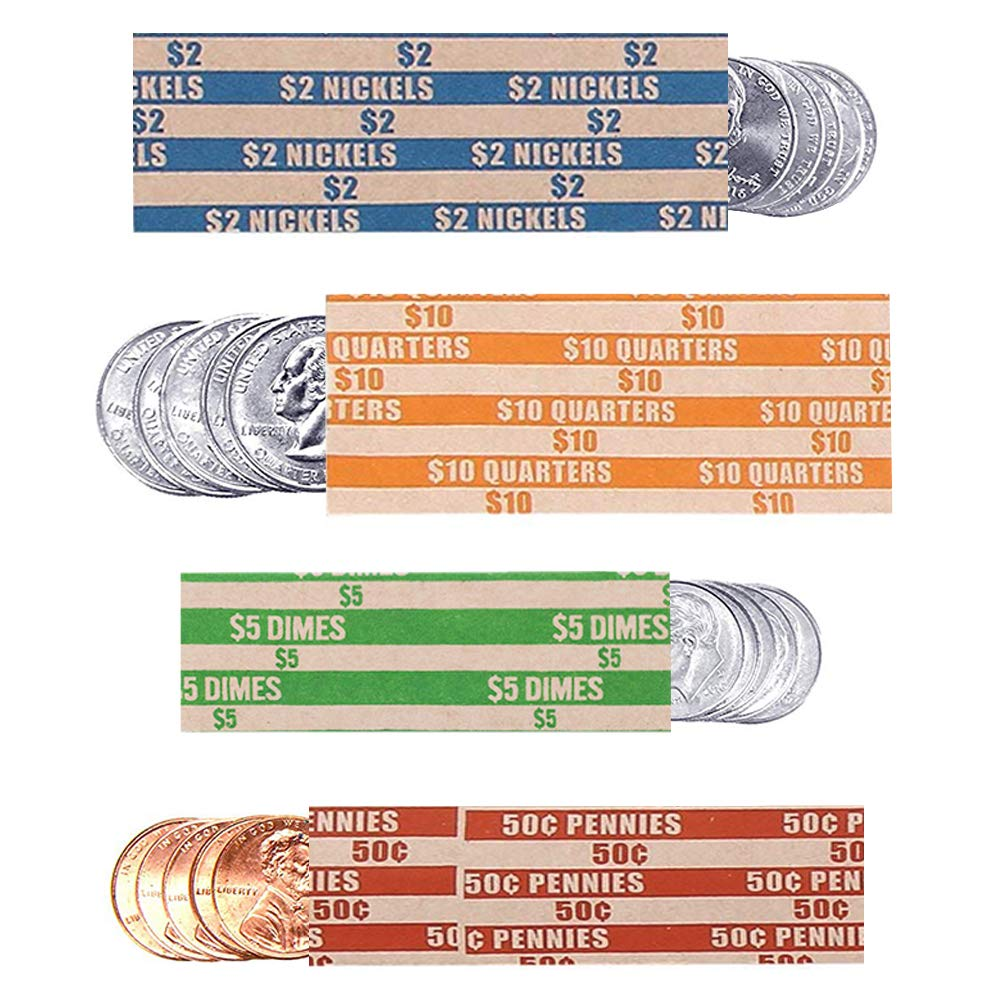 Coin Rolls Wrappers, 600 Assorted Flat Coin Wrappers - 150 of Each Quarters, Dimes, Nickels, Pennies, ABA Striped Kraft Paper Coin Roll Wrappers by Alritz (Image #1)
