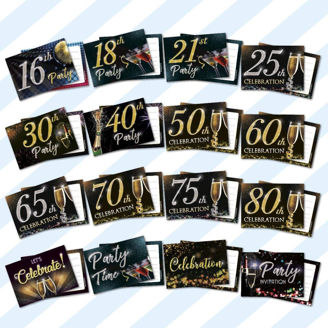 1 Sample Card + 1 Envelope Birthday Party Invitations Invites Anniversary Celebration with Envelopes 70th Celebration A6 CARDS