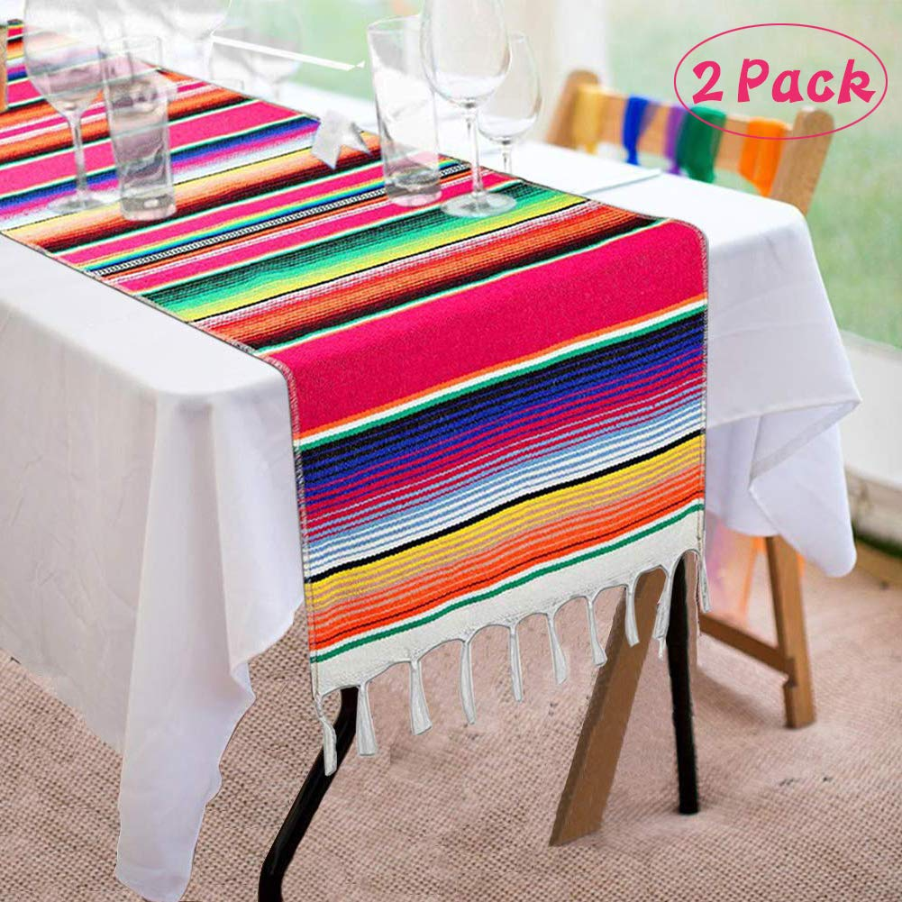 Asecinc 2 Pack Mexican Table Runner 14 x 84 Inch Mexican Serape Table Runner for Mexican Party Wedding Decorations, Fringe Cotton Table Runner