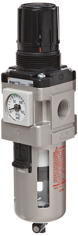 SMC AW30K-N03-Z Filter/Regulator, Polycarbonate Bowl with Bowl Guard, 5 Micron, Manual Drain, Relieving Type, with Backflow Function, 7.25 - 123 psi Set Pressure Range, 53 scfm, No Gauge, 3/8' NPT