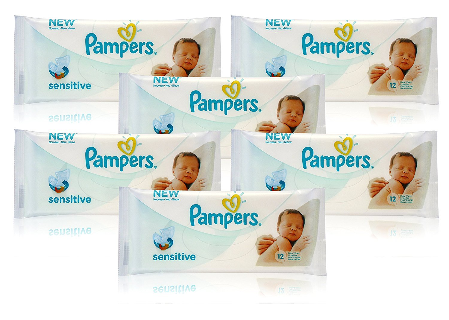 6x Pampers SENSITIVE BABY WIPES Handy Travel Size Convenience 12 WIPES PER PACK