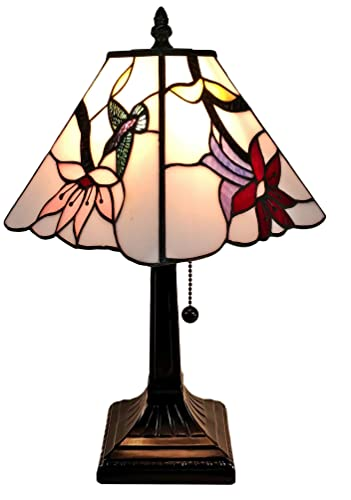 Amora Lighting Tiffany Style Mini Accent Lamp Mission 15 Tall Stained Glass Pink Red Floral Hummingbird Vintage Antique Light D cor Nightstand Living Room Bedroom Office Gift AM211TL08B, Multicolor