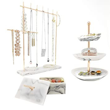 3a1a9c718047 Rose Gold Jewelry Organizer Set 3 - Easily Organize Necklaces Earrings  Rings Bracelets - Incl. 12.5